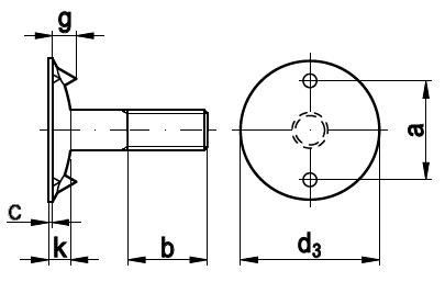 DIN 15237 Болт норийный транспортёрный (элеваторный, ковшовый) используется для крепления норийных ковшей