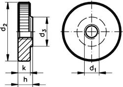 DIN 467 Гайка с накаткой, низкая, круглая, рифленая