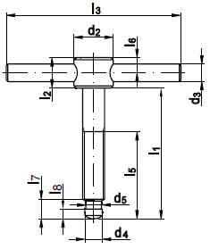 DIN 6304 Винт верстачный (воротковый) с неподвижной рукояткой, тип Е - без нажимной пяты