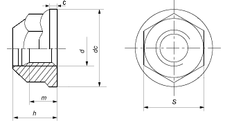 DIN 6927 гайка шестигранная стальная самоконтрящаяся с фланцем.