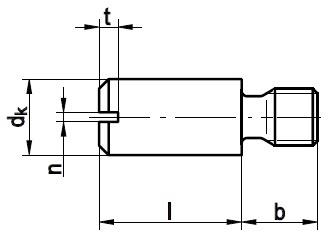 DIN 927 — винт с цилиндрической головкой (цилиндрический винт) с прямым шлицем и резьбовой цапфой.