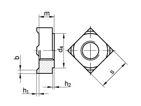 Гайка приварная квадратная DIN 928.