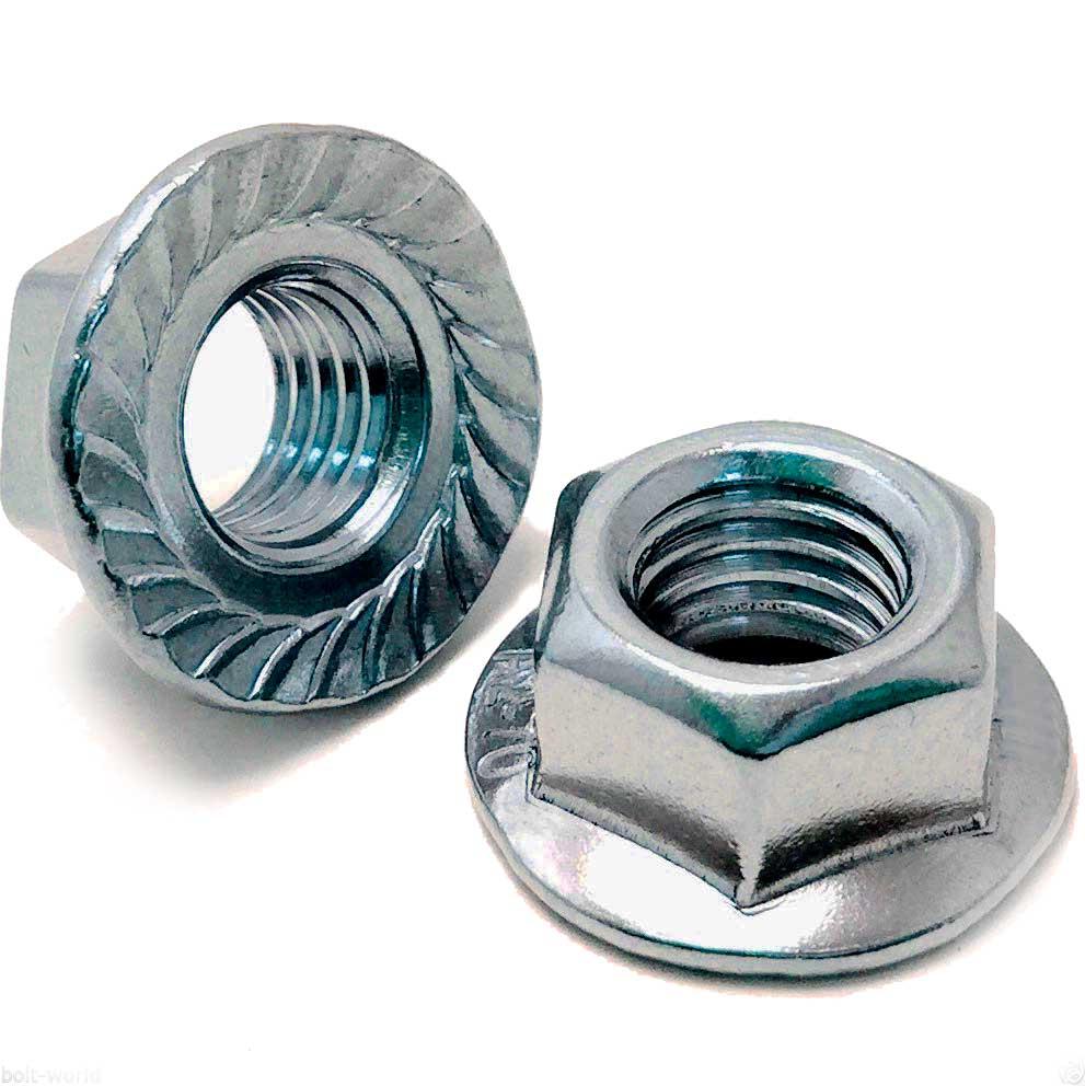 DIN 6923 Гайка шестигранная с фланцем, диаметр от М4 до М20, аналоги EN 1661, ISO 4161