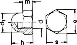 DIN 1587 гайка высокая колпачковая шестигранная