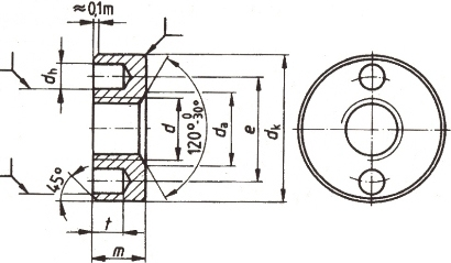 DIN 547 Гайка круглая с двумя отверстиями на торце.