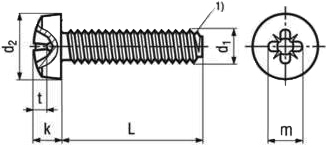 DIN 7500 С Винт резьбовыдавливающий Taptite форма С