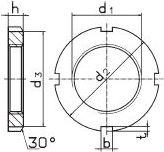 DIN 981 Гайка круглая шлицевая используется для стопорения подшипников на валах совместно с многолапчатой