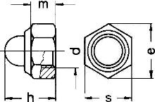 DIN 986 гайка глухая колпачковая самоконтрящаяся